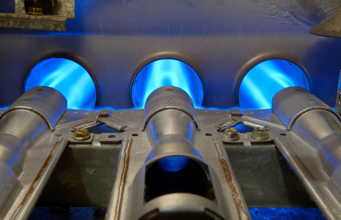flaming gas furnace